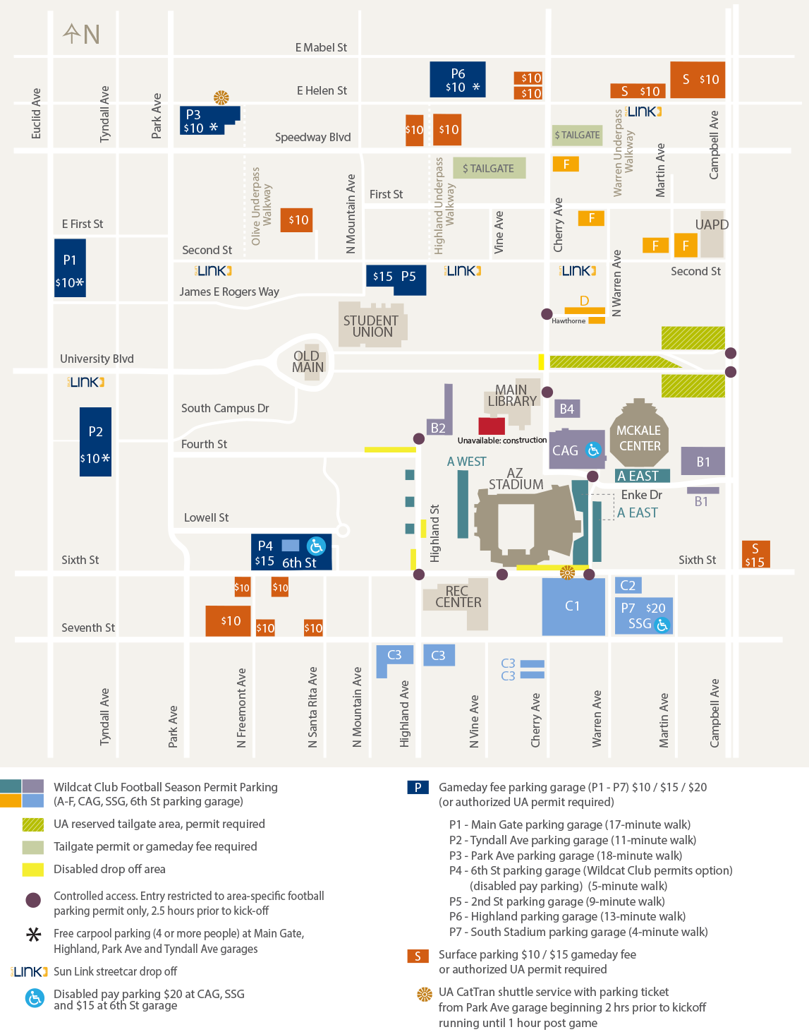 Football Parking Info University Of Arizona Athletics